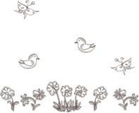 Flores, pájaros y mariposas exhaustos Fotos de archivo