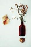 Flores púrpuras hermosas Todavía vida 1 Ramo de flores salvajes en un florero de cristal Flores agradables en las botellas Tabla  Foto de archivo libre de regalías