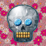 Flores para los Muertos!. Jewelled Skull over Flowers seamless background. Ai10 EPS vector illustration, CMYK Global colors Royalty Free Stock Photos