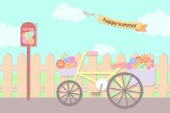 Flores pasteis na cesta da bicicleta e na caixa do cargo na rua no summe ilustração do vetor