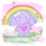 Flores pequenas bonitos e borboletas do elefante do cart?o Estilo dos desenhos animados ilustração do vetor