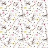 Flores pequenas da aquarela, setas e teste padrão sem emenda dos ramos Imagem de Stock