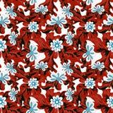 Flores pequenas no teste padrão sem emenda do fundo vermelho Fotos de Stock