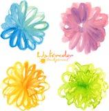 Flores pintadas acuarela brillante en estilo ingenuo libre illustration