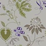 Flores pintadas em um fundo cinzento, teste padrão sem emenda Fotos de Stock Royalty Free