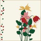 Flores pintadas en estilo retro Imagen de archivo