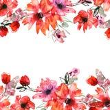 Flores pintadas a mano de la acuarela linda invitación Invitación de boda Tarjeta de cumpleaños Fotografía de archivo libre de regalías