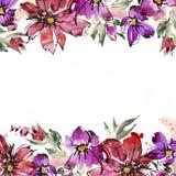Flores pintadas a mano de la acuarela linda invitación Invitación de boda Tarjeta de cumpleaños Ilustración del Vector