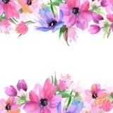 Flores pintados à mão da aquarela bonito Elementos para o projeto invitation Cartão de casamento Cartão de aniversário ilustração royalty free