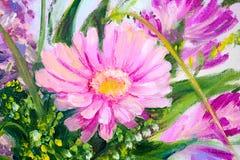 Flores, pintura al óleo Foto de archivo