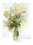 Flores, pintura de la acuarela Fotografía de archivo