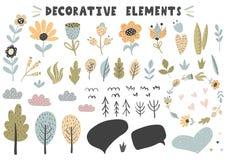 Flores, plantas, árboles, hojas, colección de las burbujas stock de ilustración