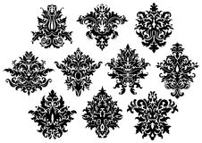 Flores pretas abstratas ajustadas Fotografia de Stock