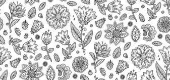 Flores pretas ornamentados do estilo do livro para colorir na telha sem emenda do teste padrão do vetor branco do fundo ilustração royalty free