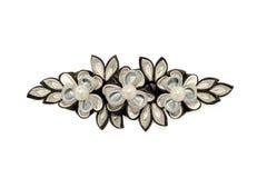 Flores preto e branco do kanzash isoladas no branco Imagem de Stock Royalty Free