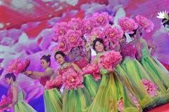 Flores que florecen como un pedazo de Cámara de los empresarios de las brocado-mujeres de celebraciones del Comercio Imagenes de archivo