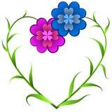 Flores que forman dimensión de una variable del corazón Imagen de archivo