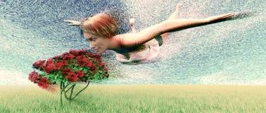 Flores que huelen de la muchacha foto de archivo