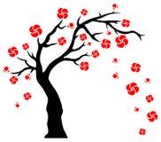 Flores que soplan del árbol ilustración del vector