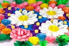 Flores quilling de papel coloridas Foto de archivo