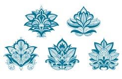 Flores resumidas del azul del cordón de Paisley Foto de archivo