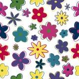 Flores retras inconsútiles stock de ilustración