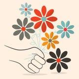 Flores retros à disposição Fotos de Stock Royalty Free