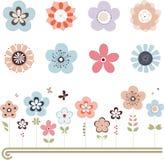Flores retros do vetor Fotos de Stock Royalty Free
