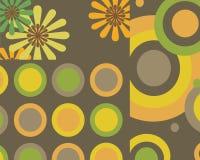 Flores retros e projeto gráfico dos círculos Fotos de Stock