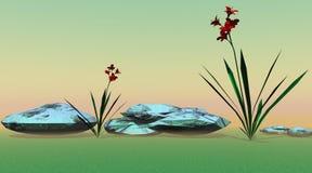 Flores rojas stock de ilustración