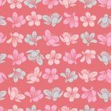 Flores rojas claras en colores pastel de Sakura de la flor de cerezo del vector y fondo inconsútil del modelo ilustración del vector