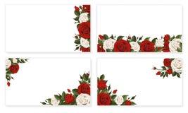 Flores rojas de la rosa del blanco de la hoja de papel Fotos de archivo libres de regalías