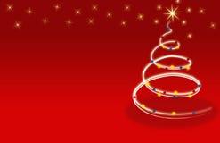 Flores rojas de las estrellas de la tarjeta del árbol de navidad Fotos de archivo libres de regalías
