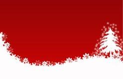 Flores rojas de las estrellas de la tarjeta del árbol de navidad Fotografía de archivo