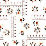 Flores rojas hermosas con la línea en el diseño inconsútil del vector del modelo del estilo bohemio de la bufanda para la moda ilustración del vector