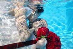 Flores rojas que se zambullen de la boda subacuática de novia que se besan y del novio Imagen de archivo libre de regalías