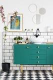 Flores rosadas al lado del gabinete verde en interior del cuarto de baño con los carteles y los espejos redondos Foto verdadera fotografía de archivo libre de regalías