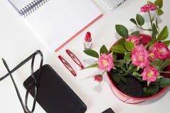 Flores rosadas, cosas rosadas sobre una tabla Imágenes de archivo libres de regalías