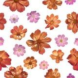 Flores rosadas doradas inconsútiles Foto de archivo