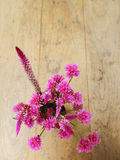 Flores rosadas en la tabla de madera Foto de archivo libre de regalías