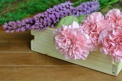 Flores rosadas y púrpuras dulces en la tabla de madera Imagen de archivo libre de regalías