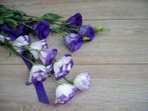 Flores roxas no fundo de madeira imagens de stock royalty free