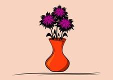 Flores roxas no vaso ilustração royalty free
