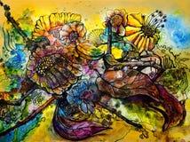 Flores salvajes brillantemente coloreadas en extracto del color de agua Imagen de archivo