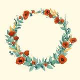 Flores salvajes de la acuarela y guirnalda del trigo Fotos de archivo