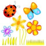 Flores, señora Bug y mariposa ilustración del vector