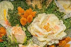Flores secadas en el primero plano, ramos de flores secadas, centro de flores Foto de archivo libre de regalías