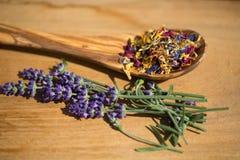 Flores secadas en las cucharas de madera verdes olivas, en fondo de madera Fotografía de archivo