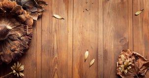 Flores secadas en un fondo de madera Autumn Still Life Imágenes de archivo libres de regalías