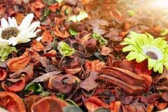 Flores secadas multicoloras, usadas para los jabones y perfumes así como colorante, tintes imágenes de archivo libres de regalías